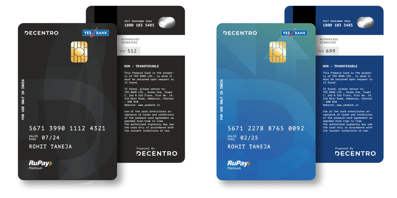 Co-branded Prepaid Cards from Decentro.