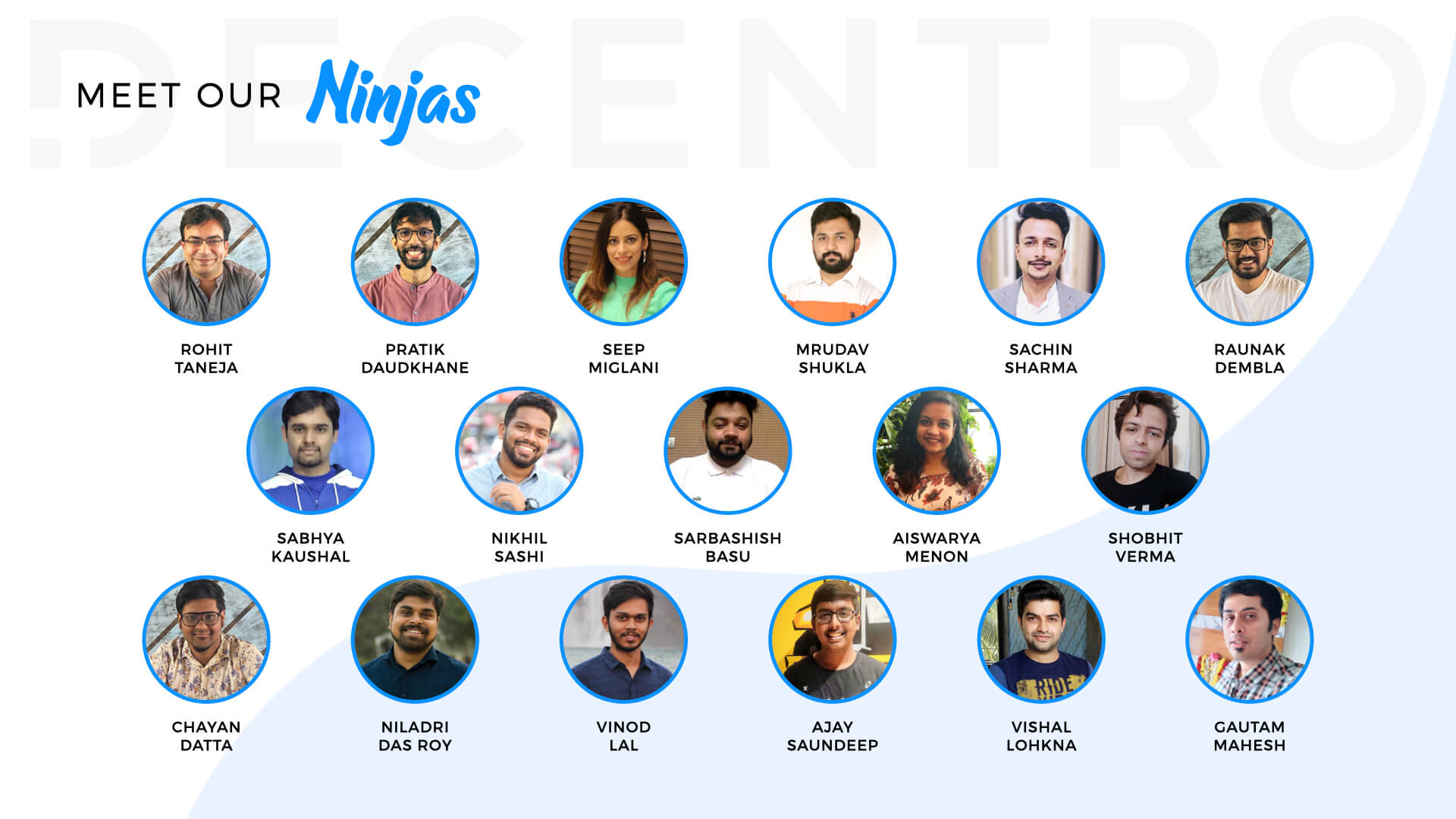 The Decentro team who puts forth their best efforts for everything.